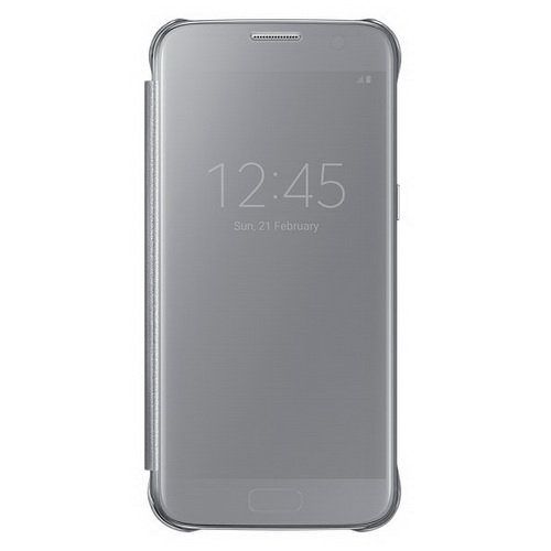 Чехол Samsung Clear View Cover серебристый, для Galaxy S7