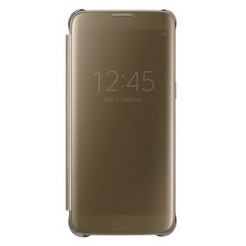 Чехол-книжка Samsung Clear View Cover золотистый, для Galaxy S7 Edge