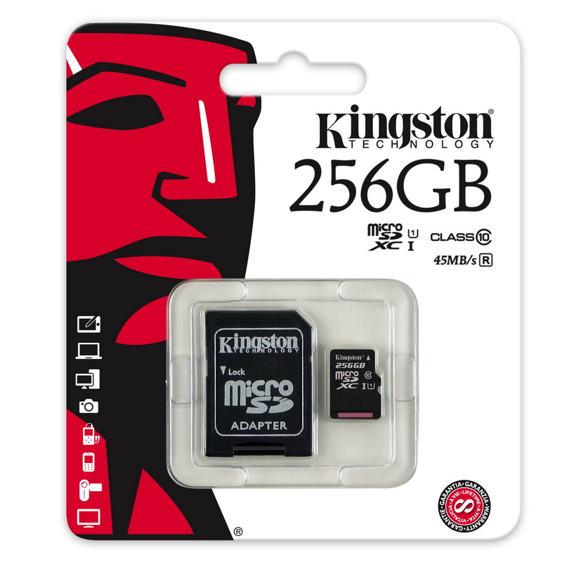 Карта памяти microSDXC 256Гб Kingston SDC10G2/256GB Class 10 UHS-1, +адаптер